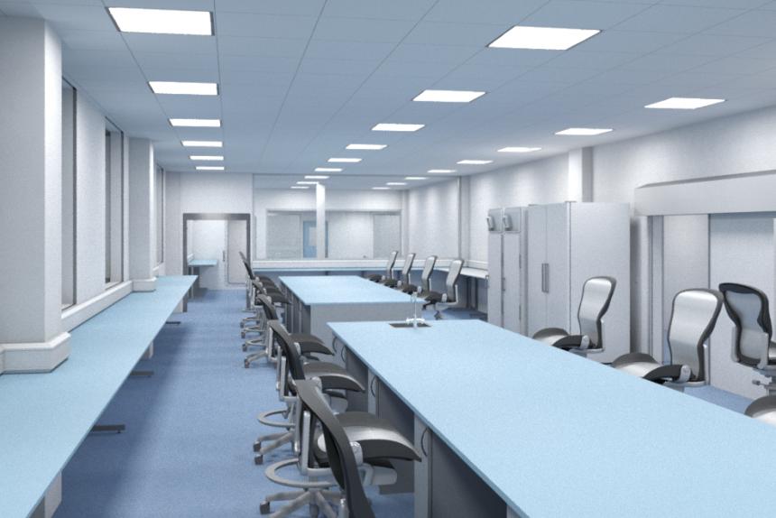 Vassar college bridge for laboratory sciences lighting design on